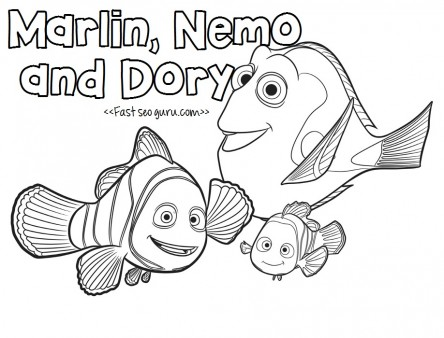 Finding dory movie coloring pages for kids
