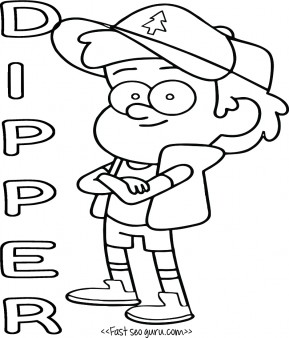 Printable Gravity Falls Dipper Pines Coloring Pages For Kids