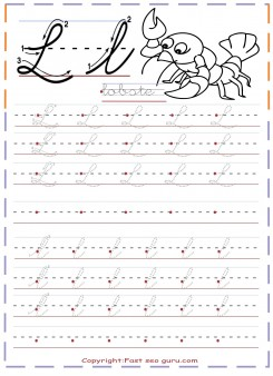 cursive handwriting practice tracing worksheets letter l for lobste