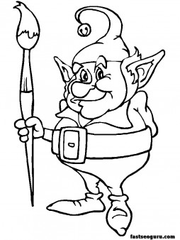 Print out coloring  pages of Christmas Elves father
