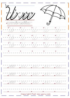 cursive handwriting tracing worksheets letter u for umbrella ...