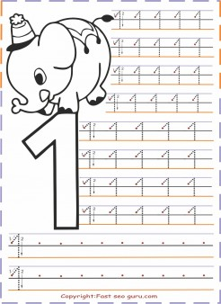 Numbers tracing worksheets 1 for kindergarten