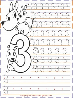 kindergarten number 3 tracing worksheets Printable Coloring