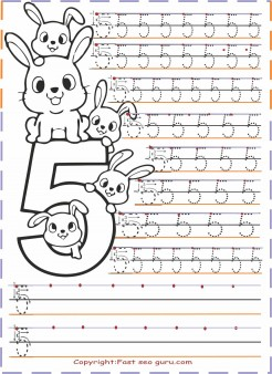 Preschool Number 5 Tracing Worksheets