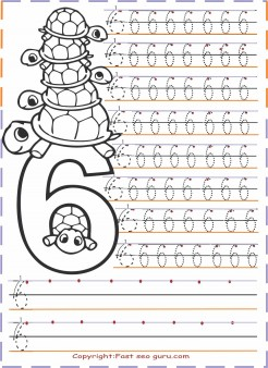 Numbers tracing worksheets 6 for kindergarten