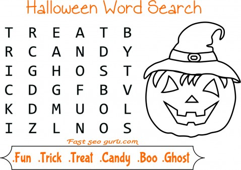 Easy halloween word search for kids