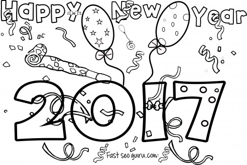 New Years 2017 Coloring Page For Kids Print