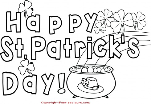 image about St Patrick's Printable Coloring Pages called Content St. Patricks Working day Coloring Internet pages card - Printable