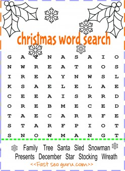 print out christmas word search for preschool
