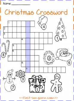 Printable christmas crossword worksheet