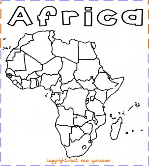 Printable africa map coloring page printable coloring for Map of africa coloring page