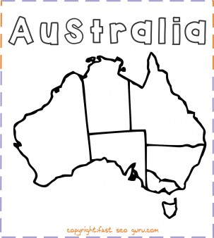 Printable australia map coloring page
