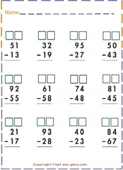print out two digit Subtraction maht worksheets