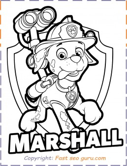 Printable paw patrol marshall coloring pages