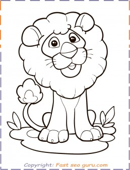 coloring in pages animals lion print out
