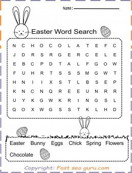 Easter Word Search print out