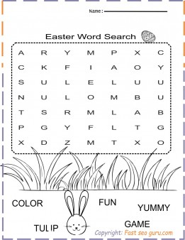 easy easter word search printable