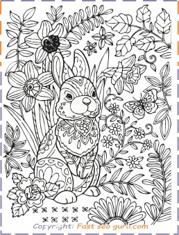 Easter bunny colouring pages for adults