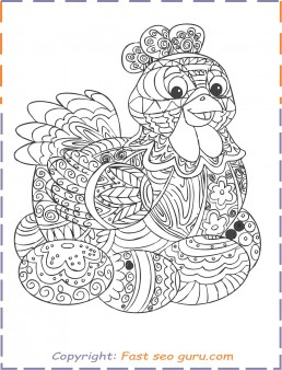 Happy Easter Cute Bunny Rabbit Eggs Coloring Pages Printable | 338x258