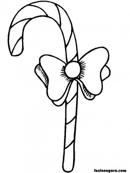 Printable of Christmas candy canes coloring pages