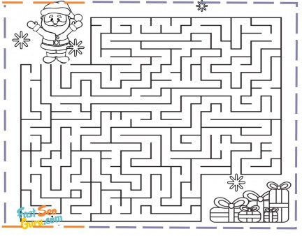 christmas maze santa claus gifts coloring pages