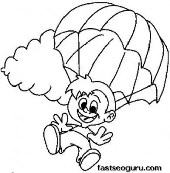 Children skydiving coloring pages