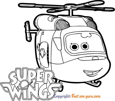 Picture to color Super Wings dizzy to print