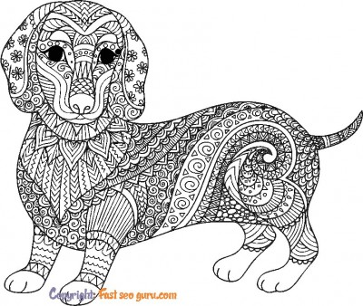 cute dog pictures for colouring adults