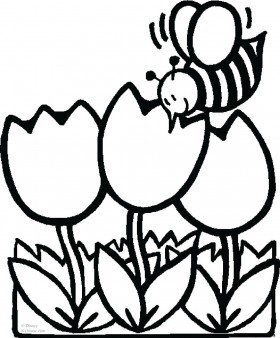 Print out pictures Coloring pages bee with tulips