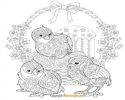 easter chicken eggs pictures to color adults