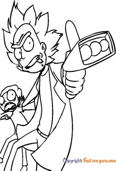 rick and morty picture to color for kids