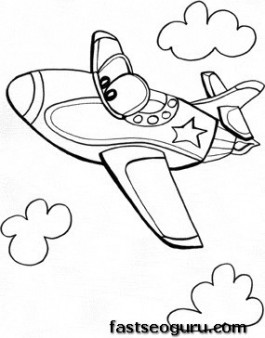 jet air plane whit face coloring pages for kids