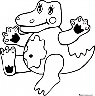 kids coloring pages print out of  jungle Crocodile Kids