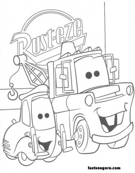 Guido and tow mater coloring pages car 2