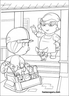 Handy Manny and Mrs Portillo Characters Coloring Pages