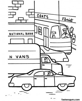 cars in town printable coloring pages for kids