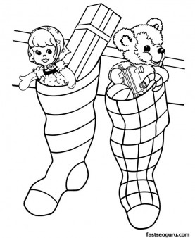 Christmas stockings filled with toys coloring pages.