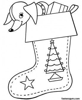 Coloring pages Christmas stockings filled with gifts
