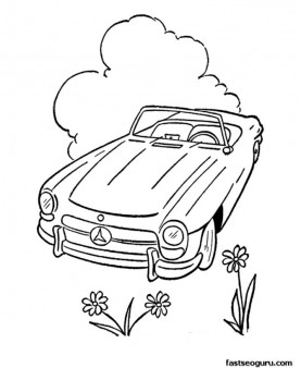 Free Coloring pages cabrio car printable for kids