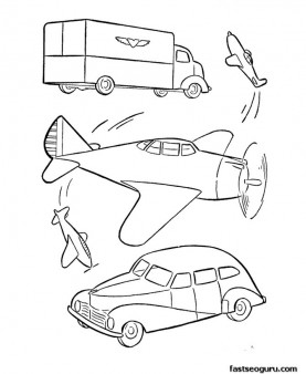 military car and airplane coloring pages printable