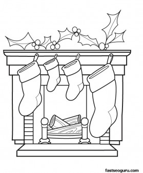 printable coloring pages of christmas stockings waiting for gifts