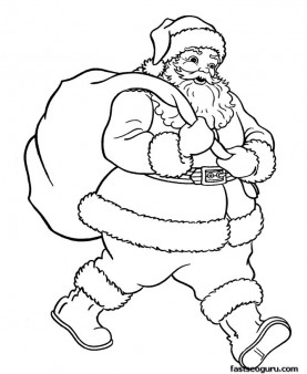 Santa Claus With Christmas Gifts Bage Coloring Pages