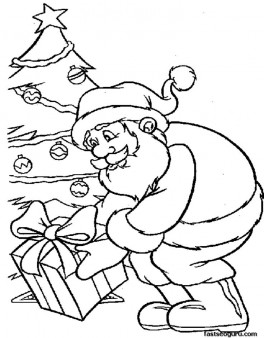 Santa cause presents under Christmas tree coloring pages