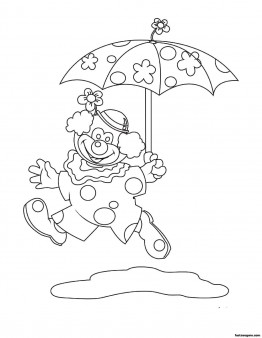 Free Printable coloring pages for kids clown umbrella