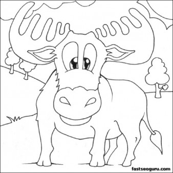 Print out for kids Moose Coloring Pages