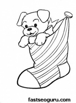 Printable Puppy in Christmas Stockings coloring pages
