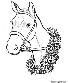 Free Print out coloring pages The race winner horses