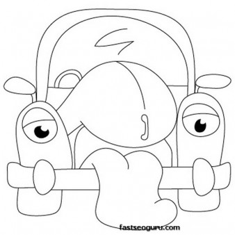 cartoon cars drawings coloring page
