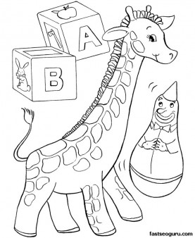 Print out Christmas Coloring Pages kids toy giraff