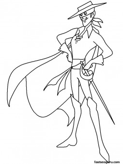 Printabel coloring pages for kids Zorro